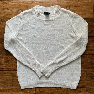 White Chunky Knit Pullover Mock Neck Sweater